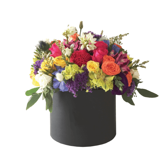 Bright flowers in a box