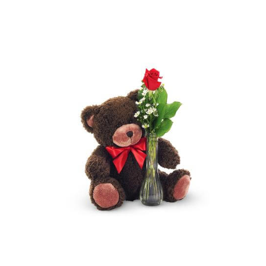 Teddy bear with a rose
