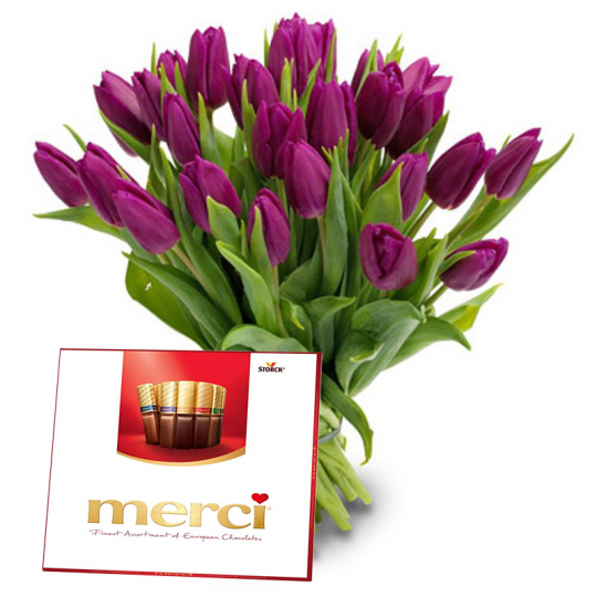 "Tulips and chocolates ""merci"""
