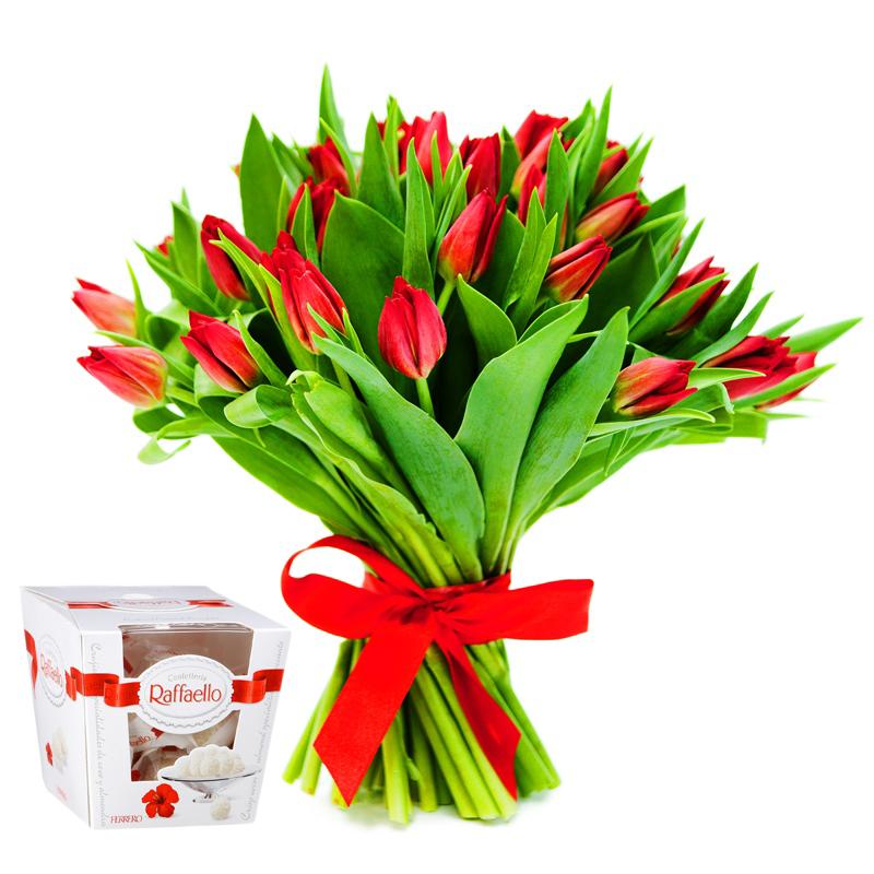 """Tulpės ir saldainiai """"Raffaello"""""""